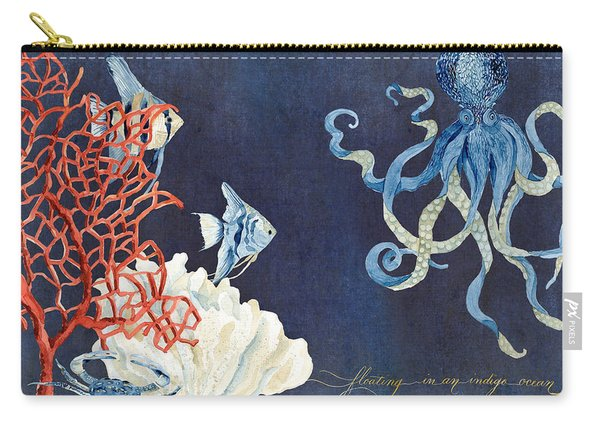 Indigo Ocean - Floating Octopus Carry-all Pouch