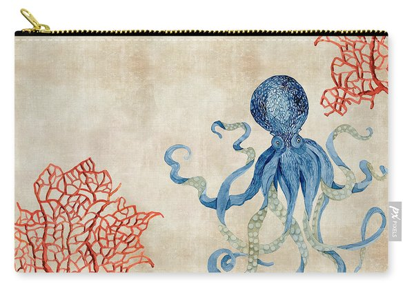 Indigo Ocean - Octopus Floating Amid Red Fan Coral Carry-all Pouch