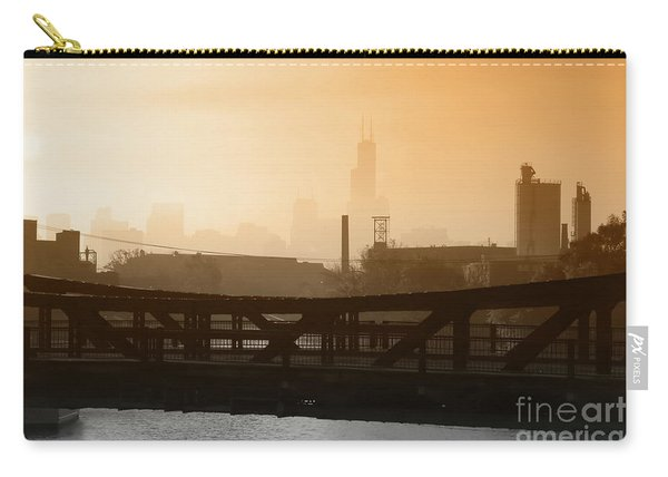 Industrial Foggy Chicago Skyline Carry-all Pouch
