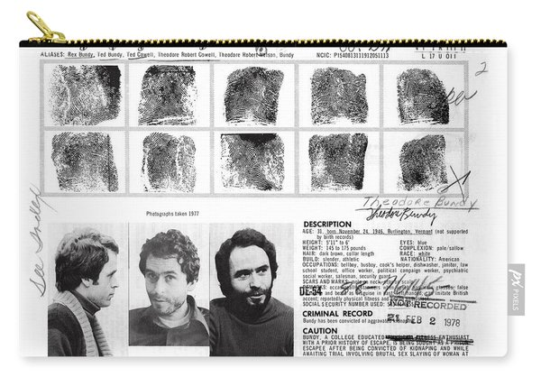 Investigator's Copy - Ted Bundy Wanted Document  1978 Carry-all Pouch