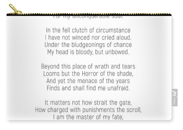 Invictus By William Ernest Henley #minimalist #poem  Carry-all Pouch