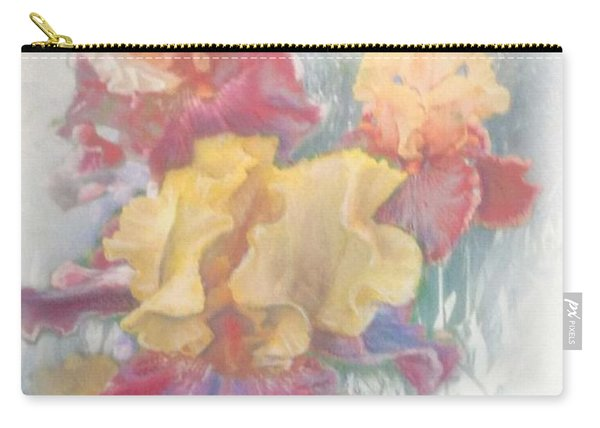 Carry-all Pouch featuring the painting Iris In Cottage Garden by Ryn Shell