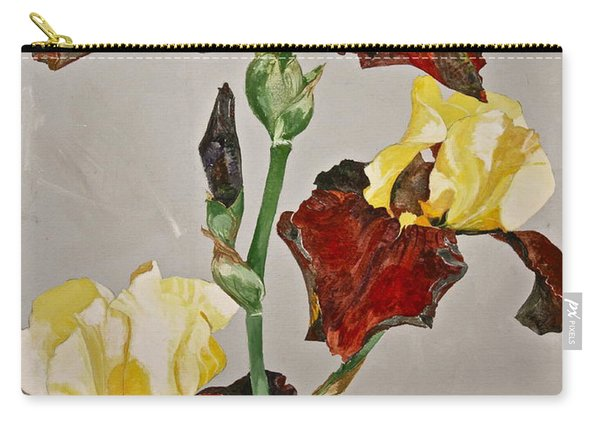 Carry-all Pouch featuring the painting Irises-posthumously Presented Paintings Of Sachi Spohn  by Cliff Spohn