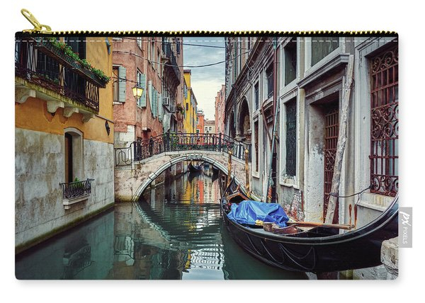 Gondola Parked On Lonely Water Canal In Venice, Italy Carry-all Pouch