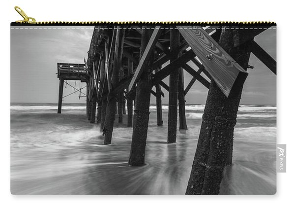 Carry-all Pouch featuring the photograph Isle Of Palms Pier Water In Motion by Donnie Whitaker