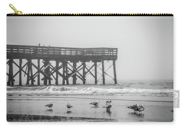 Carry-all Pouch featuring the photograph Isle Of Palms Pier And Fog by Donnie Whitaker
