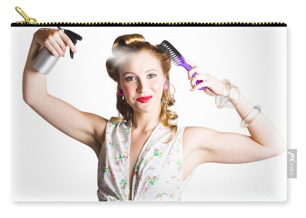 Isolated Woman Styling Her Hair On White Carry-all Pouch
