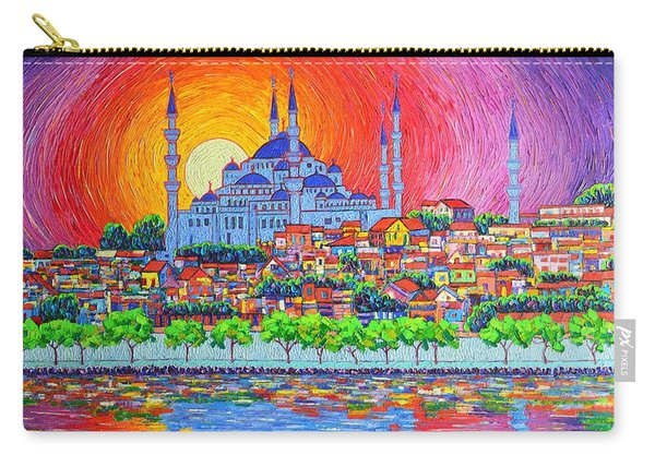 Istanbul Blue Mosque Sunset Modern Impressionist Palette Knife Oil Painting By Ana Maria Edulescu    Carry-all Pouch