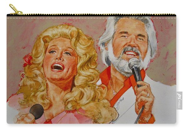 Carry-all Pouch featuring the painting Its Country - 8  Dolly Parton Kenny Rogers by Cliff Spohn