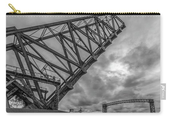 Jackknife Bridge To The Clouds B And W Carry-all Pouch