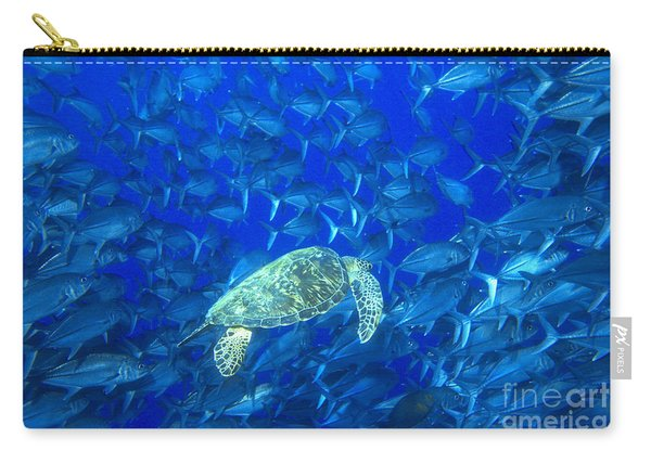 Jacks Schooling With Sea Turtle Carry-all Pouch