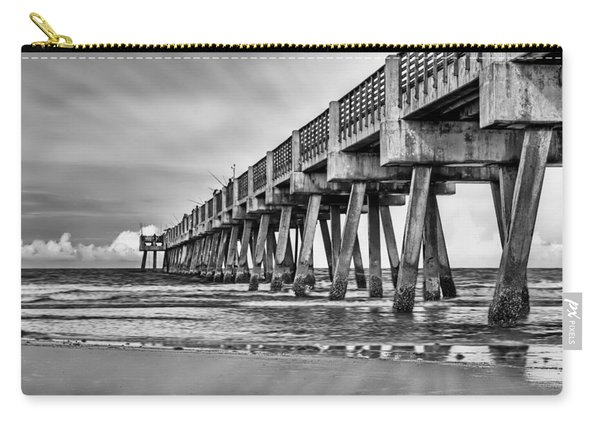 Jacksonville Beach Pier In Black And White Carry-all Pouch