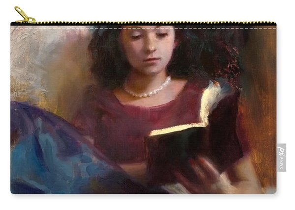 Jaidyn Reading A Book 1 - Portrait Of Young Woman - Girls Who Read - Books In Art Carry-all Pouch