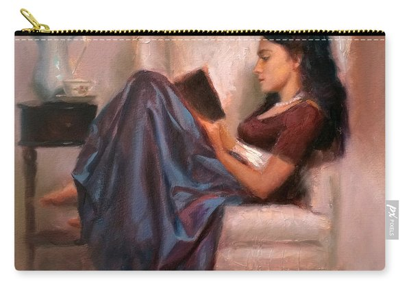 Jaidyn Reading A Book 2 - Portrait Of Woman Carry-all Pouch