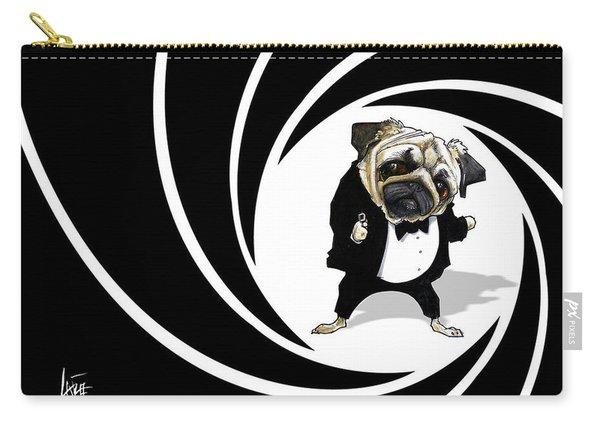 James Bond Pug Caricature Art Print Carry-all Pouch