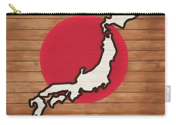 Japan Rustic Map On Wood Carry-all Pouch