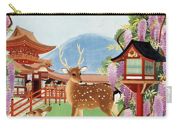 Japanese Garden With Spotted Deer And Violet Blossoms - Vintage Travel Poster - Landscape Carry-all Pouch