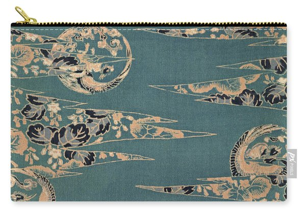 Japanese Phoenix And Hollyhock Interior Art Painting.  Carry-all Pouch