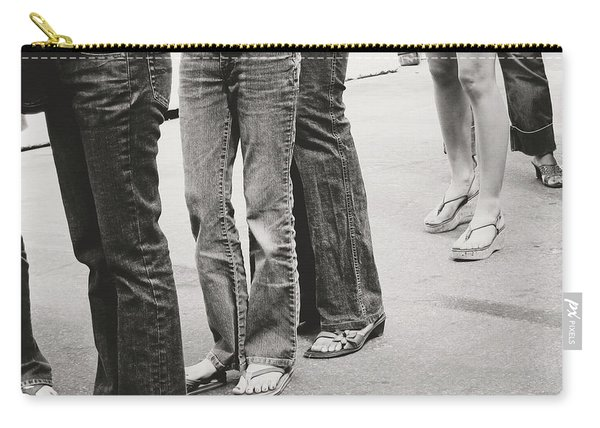Jeans And Sandals Black And White- Photography By Linda Woods Carry-all Pouch