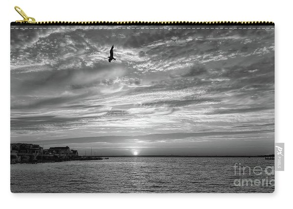 Jersey Shore Sunset In Black And White Carry-all Pouch