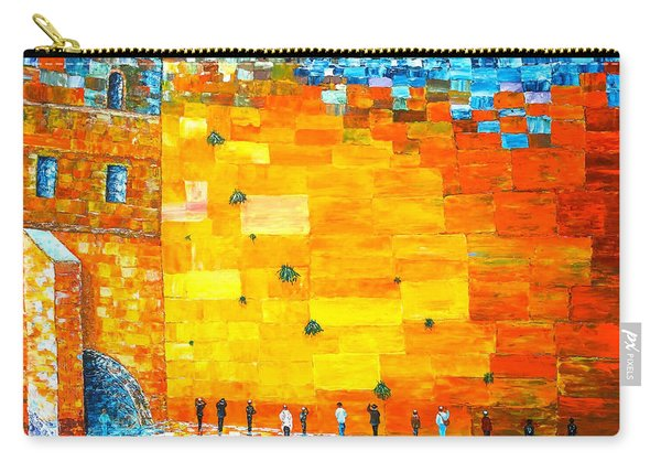 Jerusalem Wailing Wall Original Acrylic Palette Knife Painting Carry-all Pouch