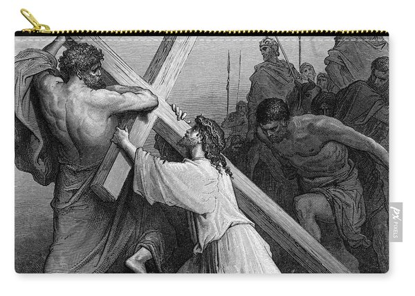 Jesus Falling Beneath The Cross By Gustave Dore  Engraved Carry-all Pouch