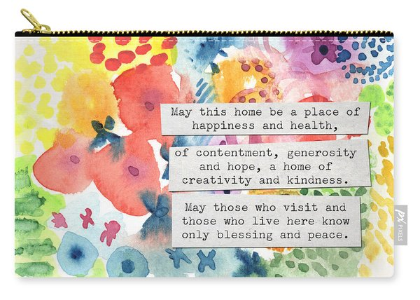 Jewish Home Blessing- Floral Watercolor Carry-all Pouch