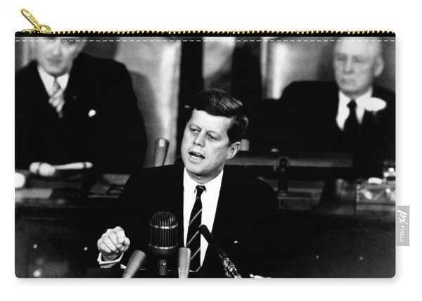 Jfk Announces Moon Landing Mission Carry-all Pouch