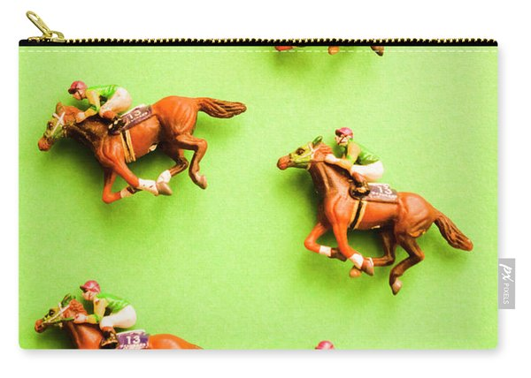 Jockeys And Horses Carry-all Pouch