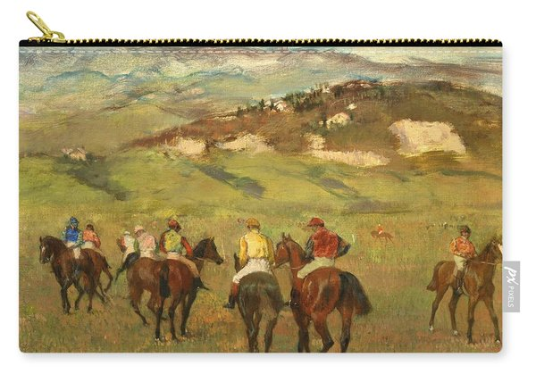 Jockeys On Horseback Before Distant Hills Carry-all Pouch