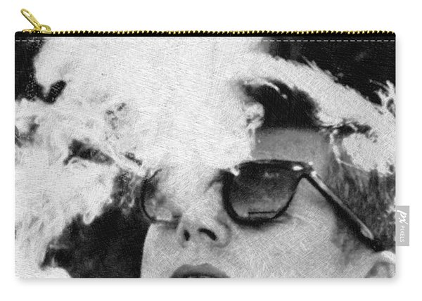 John F Kennedy Cigar And Sunglasses Black And White Carry-all Pouch