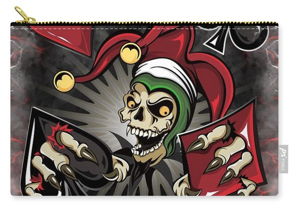 Carry-all Pouch featuring the painting Joker Poker Skull by Raphael Lopez