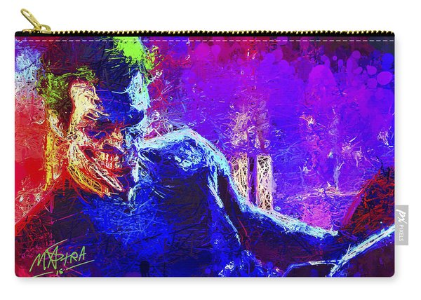 Carry-all Pouch featuring the mixed media Joker's Grin by Al Matra