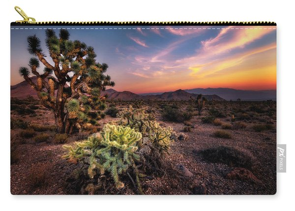 Joshua Tree And Cactus At Sunset Carry-all Pouch