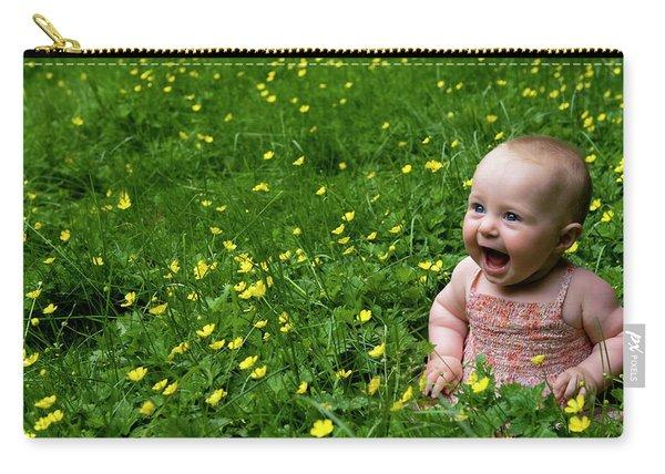 Joyful Baby In Flowers Carry-all Pouch