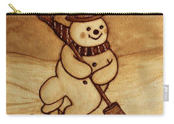 Joyful Snowman  Coffee Paintings Carry-all Pouch