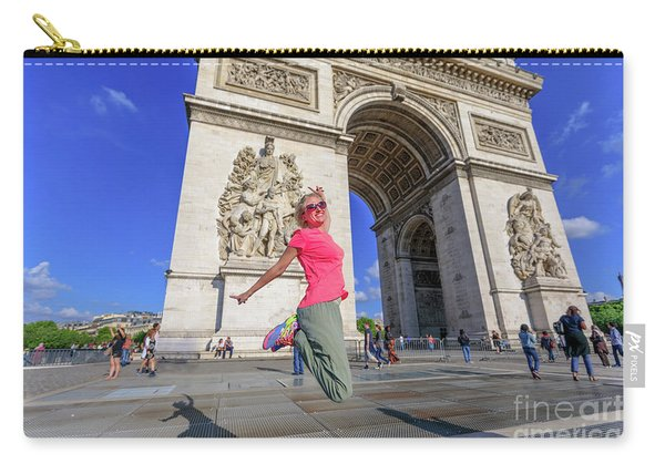 Carry-all Pouch featuring the photograph Jumping At Arc De Triomphe by Benny Marty