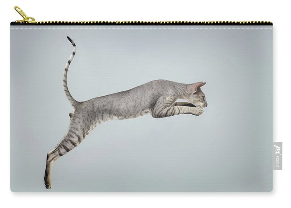 Jumping Peterbald Sphynx Cat On White Carry-all Pouch