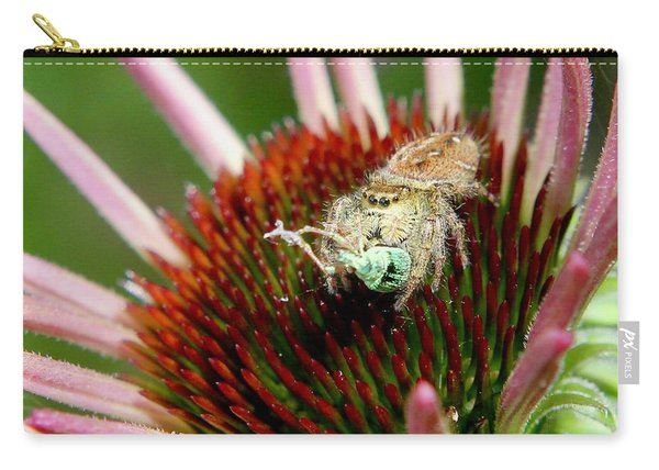 Jumping Spider With Green Weevil Snack Carry-all Pouch