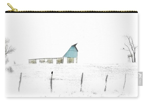 Kansas Blue Barn In Frozen Fog Carry-all Pouch