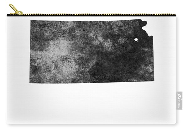 Kansas State Map Art - Grunge Silhouette Carry-all Pouch