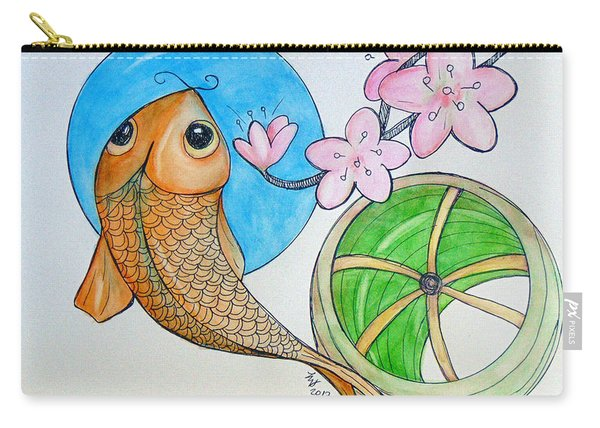 Carry-all Pouch featuring the painting Karp And Cherry Blooms by Loretta Nash
