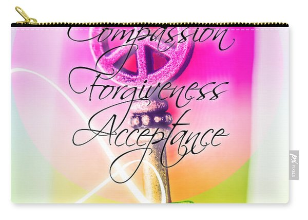 Key To Peace. Life Motivation Quote Carry-all Pouch