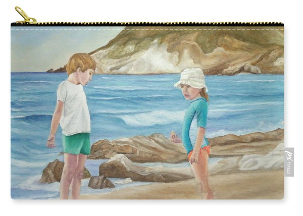 Carry-all Pouch featuring the painting Kids Collecting Marine Shells by Angeles M Pomata