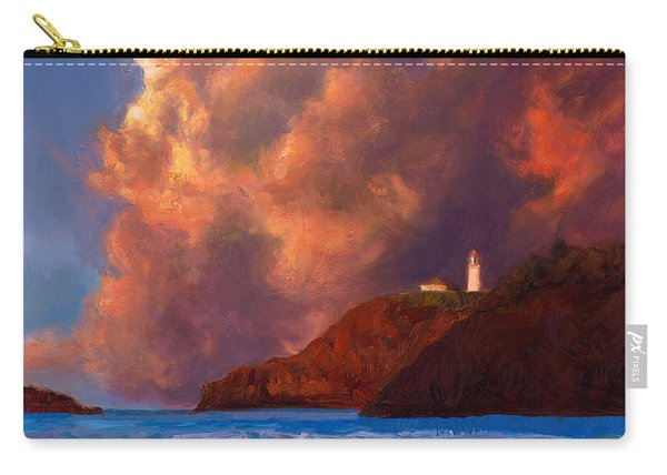 Kilauea Lighthouse - Hawaiian Cliffs Sunset Seascape And Clouds Carry-all Pouch
