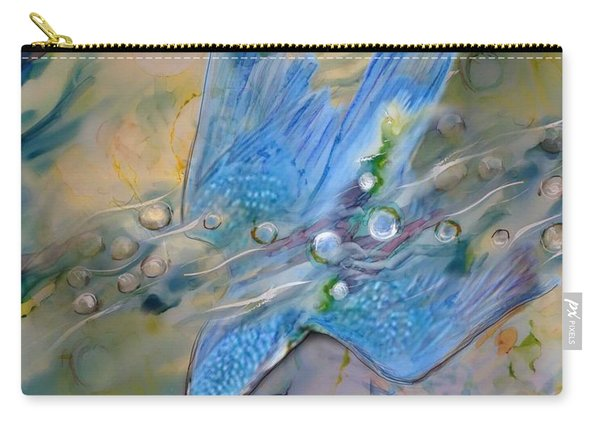 Carry-all Pouch featuring the painting Kingfisher Dive by Ryn Shell