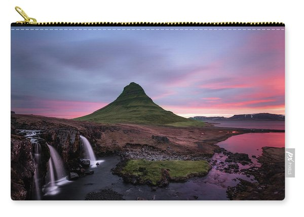 Kirkjufellsfoss Waterfalls Iceland Portrait Version Carry-all Pouch