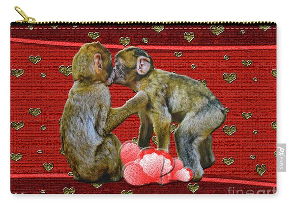 Kissing Chimpanzees Hearts Carry-all Pouch