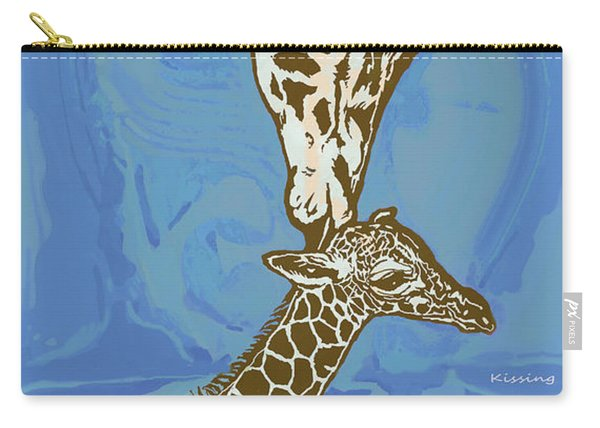 Kissing - Giraffe Stylised Pop Art Poster Carry-all Pouch