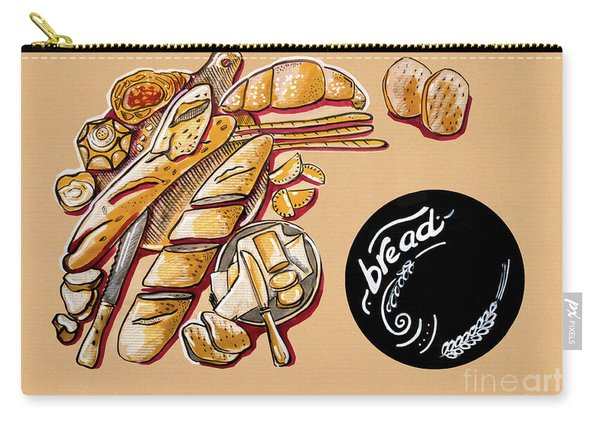 Kitchen Illustration Of Menu Of Bread Products  Carry-all Pouch